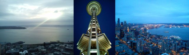 Seattle WA - Elliott Bay, the Space Needle, Alaskan Way with the Great Wheel