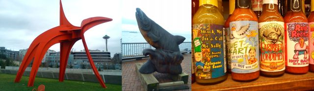 The Eagle by Alexander Calder, a Wood carving on Alaskan Way, and an scene from Pike Market (sorry!)