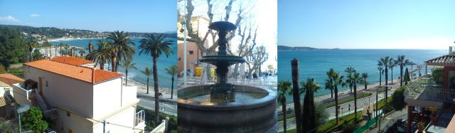 Looking eastwards across Bandol Bay: Fountain in the Square: Looking south across the Med