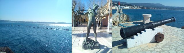 School children at sea: Statue in town square: Cannon at end of pier