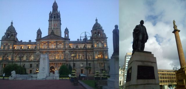 George Square, Glasgow - City Chambers, Robert Burns, Sir Walter Scott