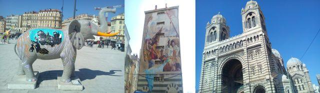 Marseille: UnElephant au Vieux Port, a 7-storey mural, the Cathedral