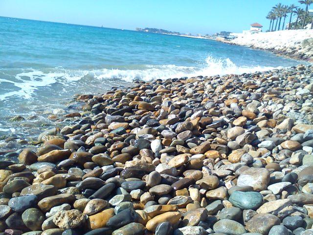 A Mediterranean beach of pebbles
