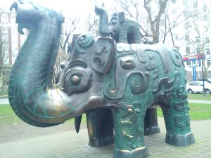 Elephants as street art in Portland, Oregon