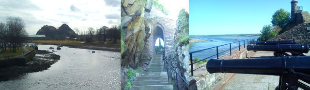 Dumbarton Castle from the west, interior portcullis, looking east up the Clyde