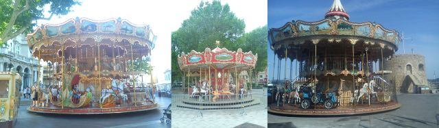 Carousels in Avignon, Macon and St Tropez