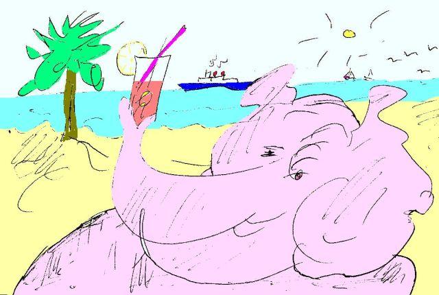 AnElephant on a Beach by Phil Burns