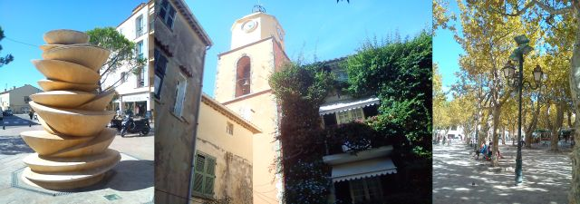 St Tropez - Street Art, the Clock Tower, Boules court with Plane Trees